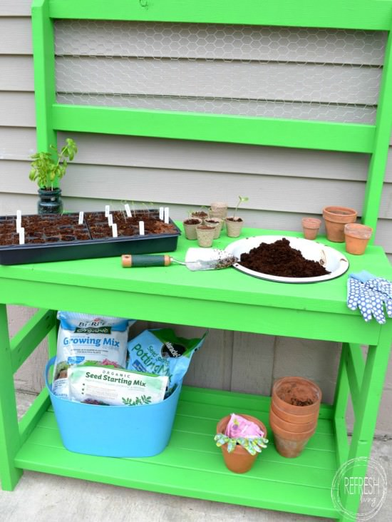 how to make your own potting bench with 2 x 4s