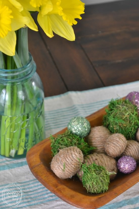 diy easter eggs with rope, moss, and glitter