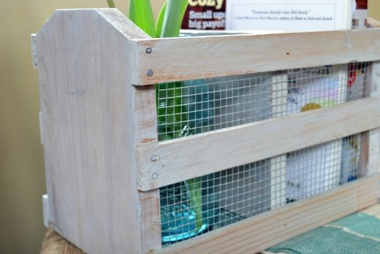 diy whitewashed crate with metal