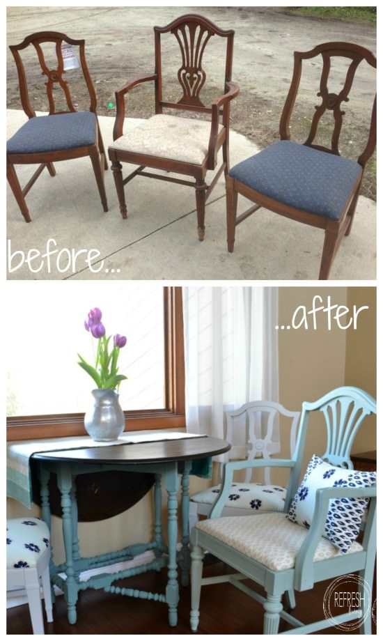 refinished dining chairs before and after