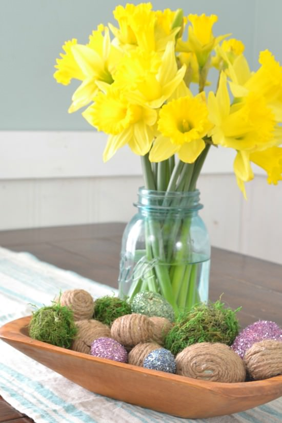 rustic easter centerpiece antique dough bowl