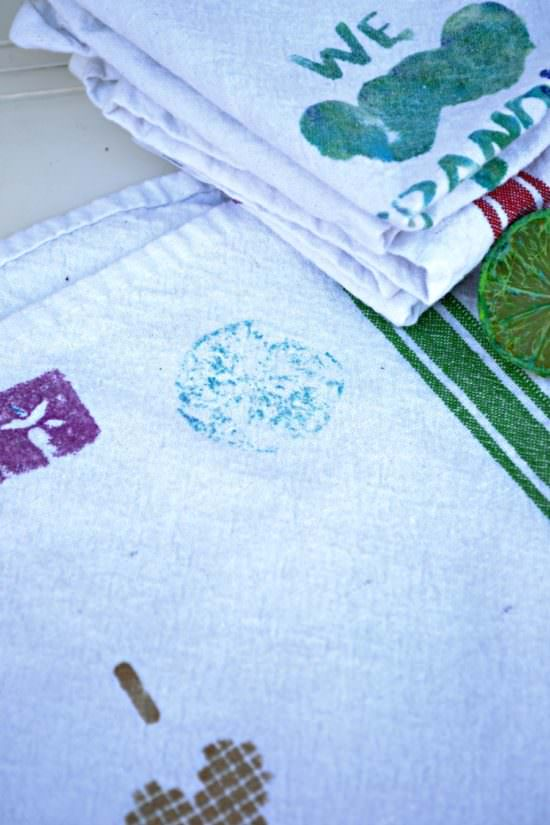 diy stamped kitchen towels kids crafts