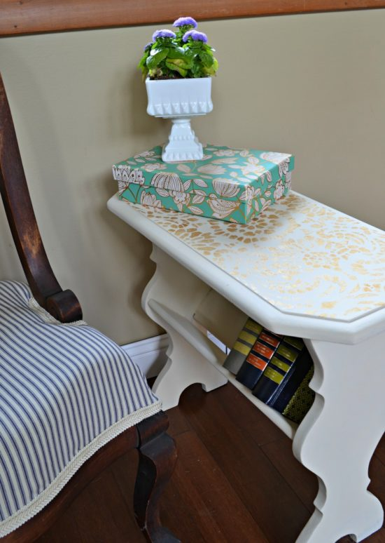 painted table with stencil in off white and gold