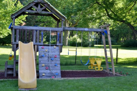 cedar swing set rebuilt
