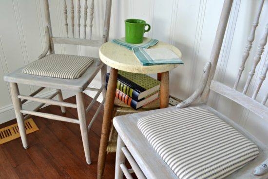 refinished farmhouse chairs with whitewash finish and mattress ticking seats