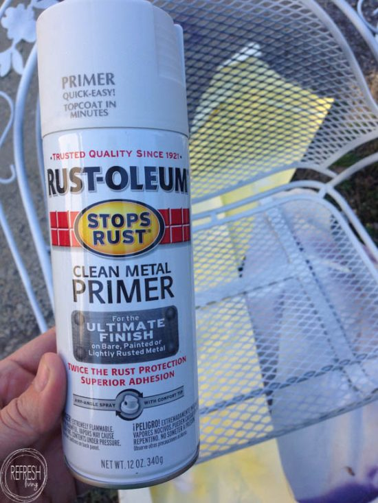 It's amazing how a little paint can transform a hand-me-down furniture set. This post shows how to hide those rust spots on metal chairs before painting, too!
