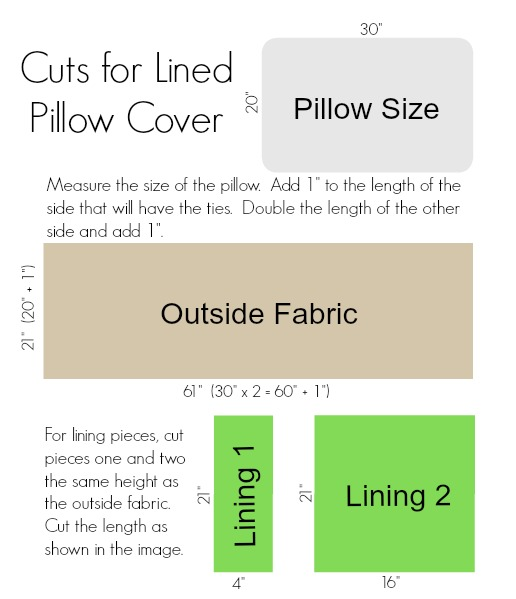 lined pillowcase with ties