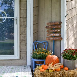 By planting my own pumpkins this year, I was able to save tons of money on fall decor. Here's how I decorated our front porch for the season on a budget.