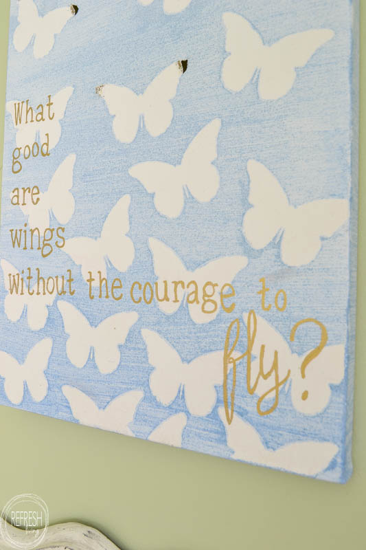 This DIY canvas artwork with an inspirational quote would be great for a little girl's bedroom! The post includes a tutorial for how to paint an ombre effect, and it looks pretty easy.