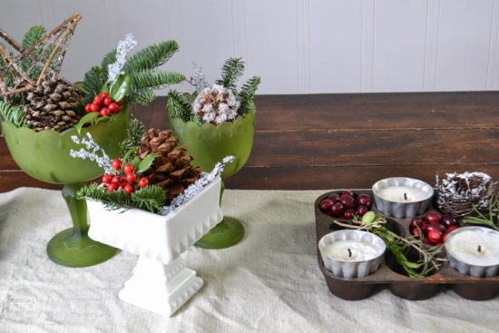 I love the combination of natural elements and vintage finds for a simple Christmas centerpiece