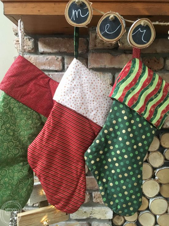 Mix and match different holiday fabric to create coordinating, yet unique, stockings for the entire family