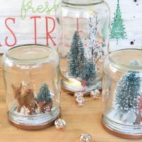 I love the idea to reuse old glass jars to create these Christmas scene snow globes. Looks like an easy DIY project for the holidays!
