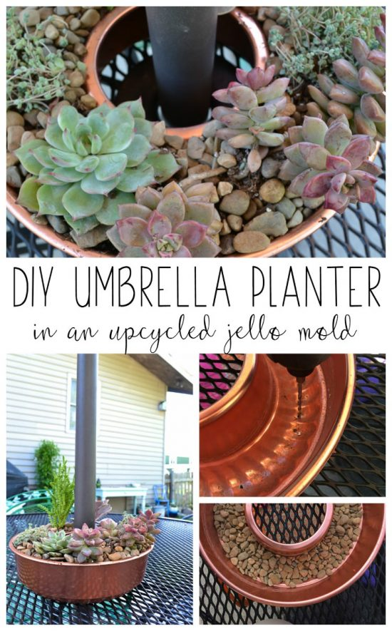 A copper jello mold can be reused as a DIY umbrella flower pot.  What a cute little succulent garden!