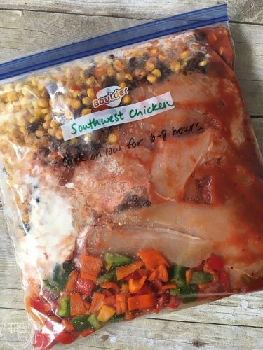 Southwest chicken crock pot recipe is easy and delicious. It can even be frozen for a busy weeknight.