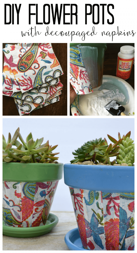 Cheap pots get an update for summer with spray paint and decoupaged napkins.