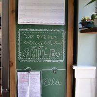 Turn the side of your fridge into a command center with chalkboard paint and a wood frame.